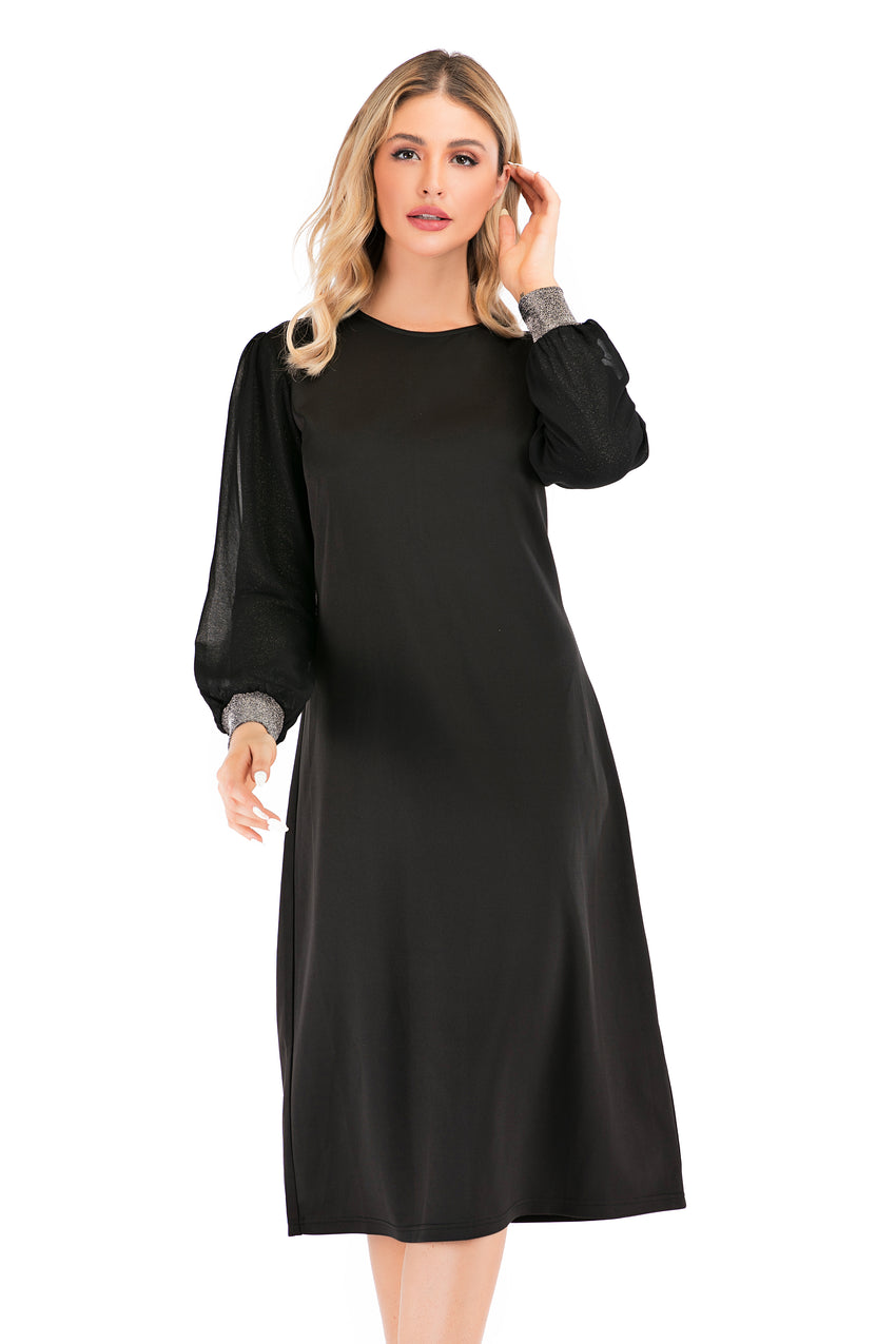 Modest Sheath Dress With Shimmering Balloon Sleeves 2880 - MissFinchNYC