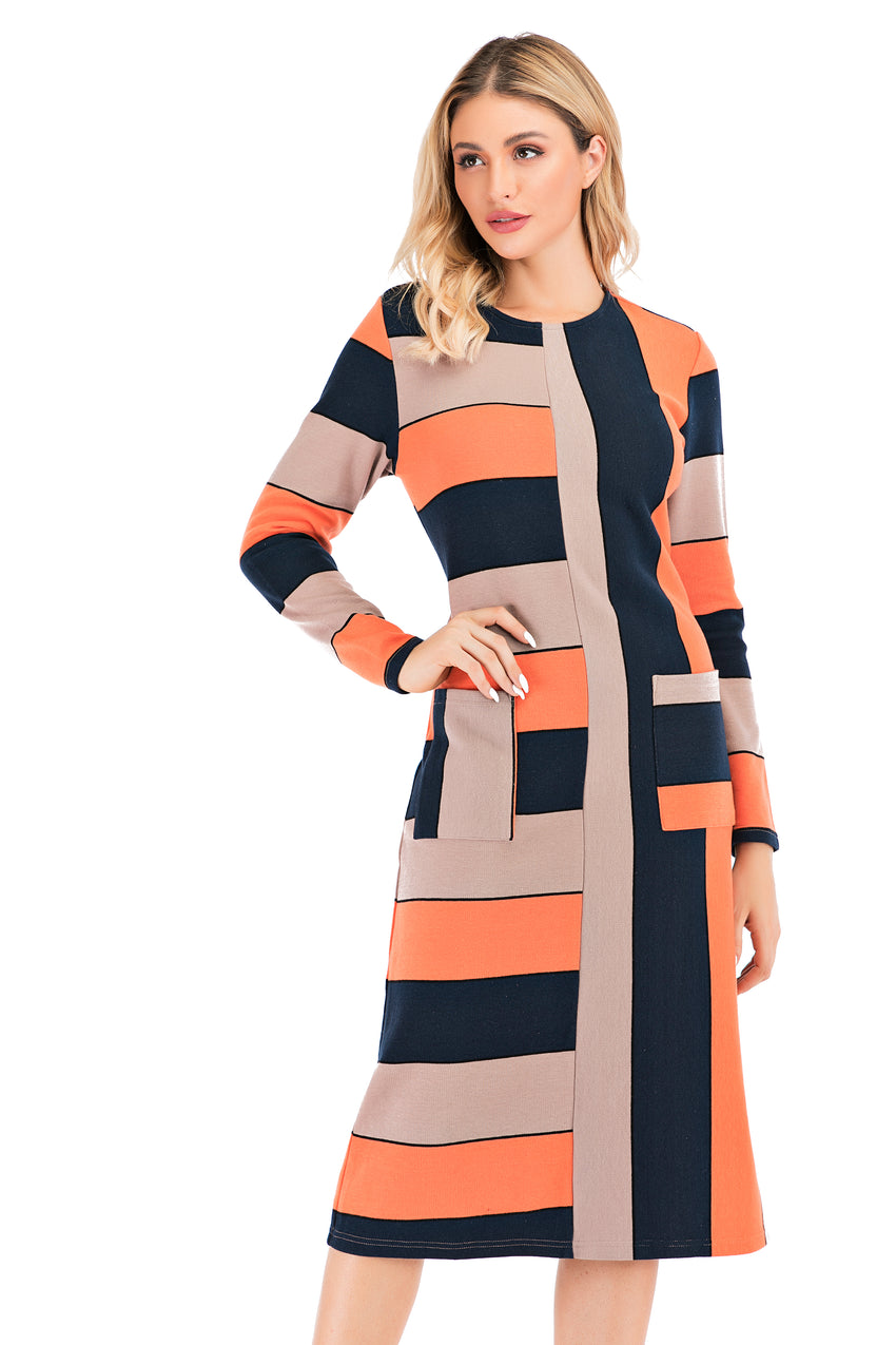 Color Block Knit Fabric Sweater Dress With Pockets 2881 - MissFinchNYC