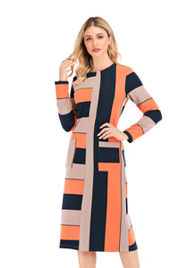 Color Block Knit Fabric Sweater Dress With Pockets 2881