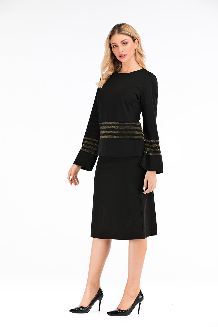 Long Sleeve Modest Top With Black & Gold Trimming 2882