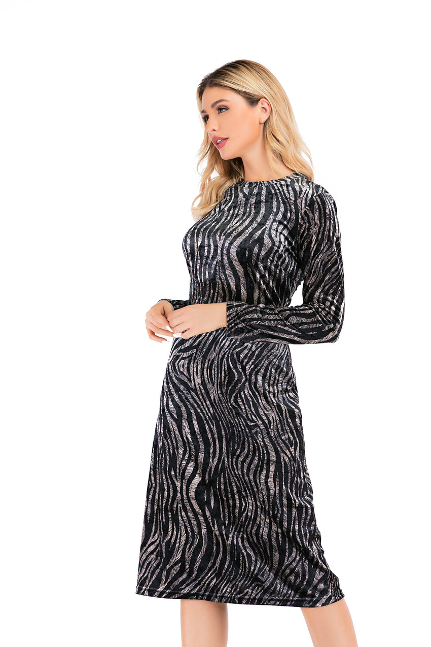 Long Sleeve Zebra Print Velvet Modest Sheath Dress 2884 - MissFinchNYC