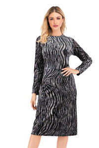 Long Sleeve Zebra Print Velvet Modest Sheath Dress 2884