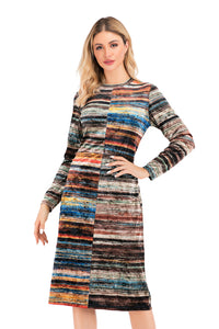 Long Sleeve Multi Color Velvet Sheath Dress 2885 - MissFinchNYC
