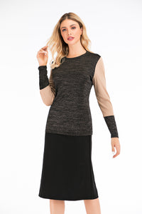 Long Sleeve Shimmering Black & Gold Top 2886 - MissFinchNYC