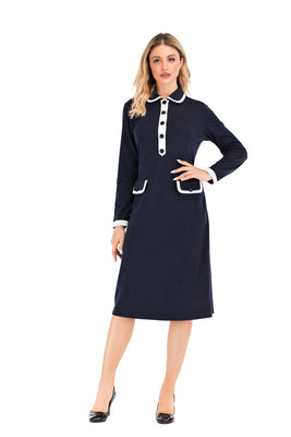 Long Sleeve Peter Pan Collar Modest Dress with contrast Trim 2887 - MissFinchNYC