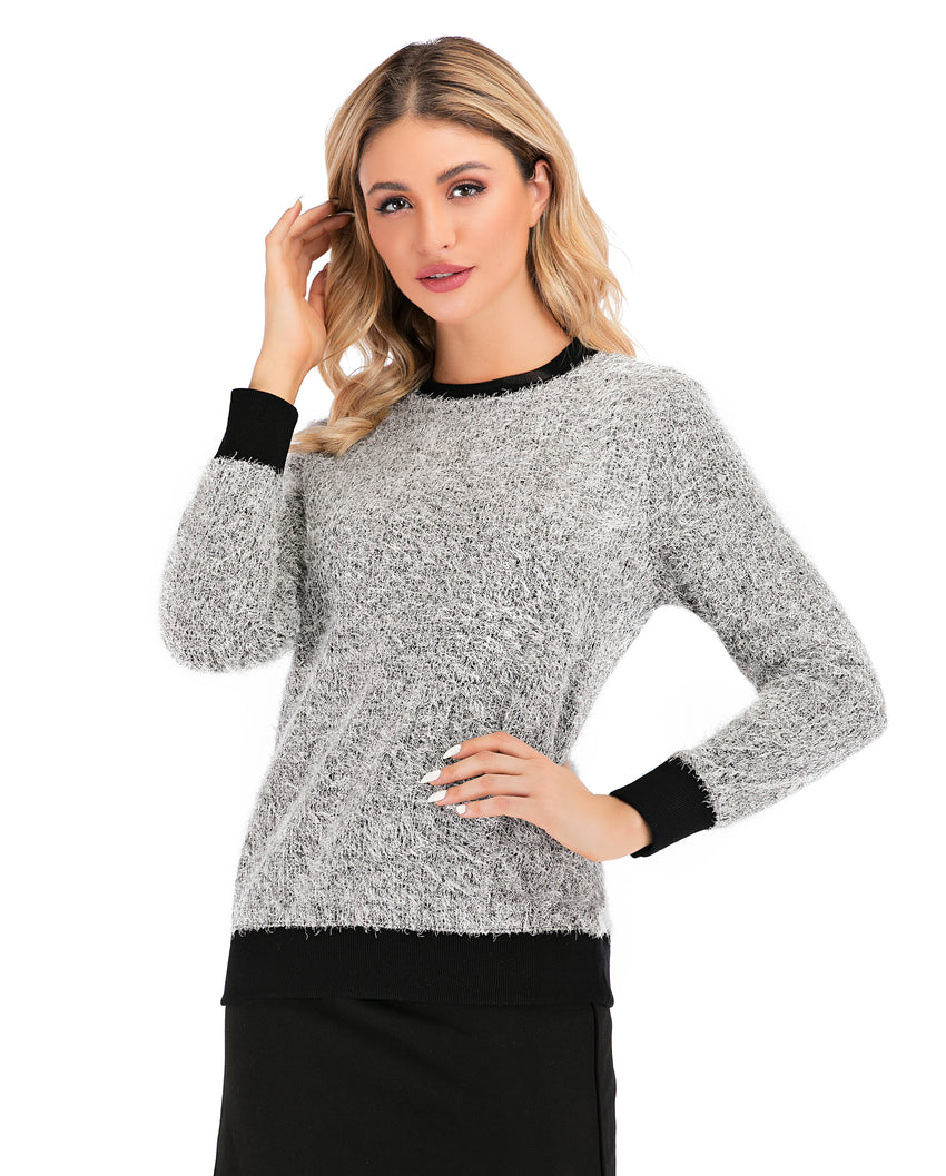 Long Sleeve Shimmering Silver Sweater with Black Details 2888