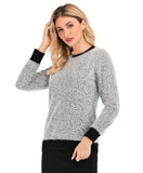 Long Sleeve Shimmering Silver Sweater with Black Details 2888 - MissFinchNYC