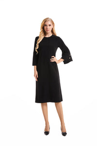 3/4 Flouncing Bell Sleeve Modest Dress 2889 - MissFinchNYC