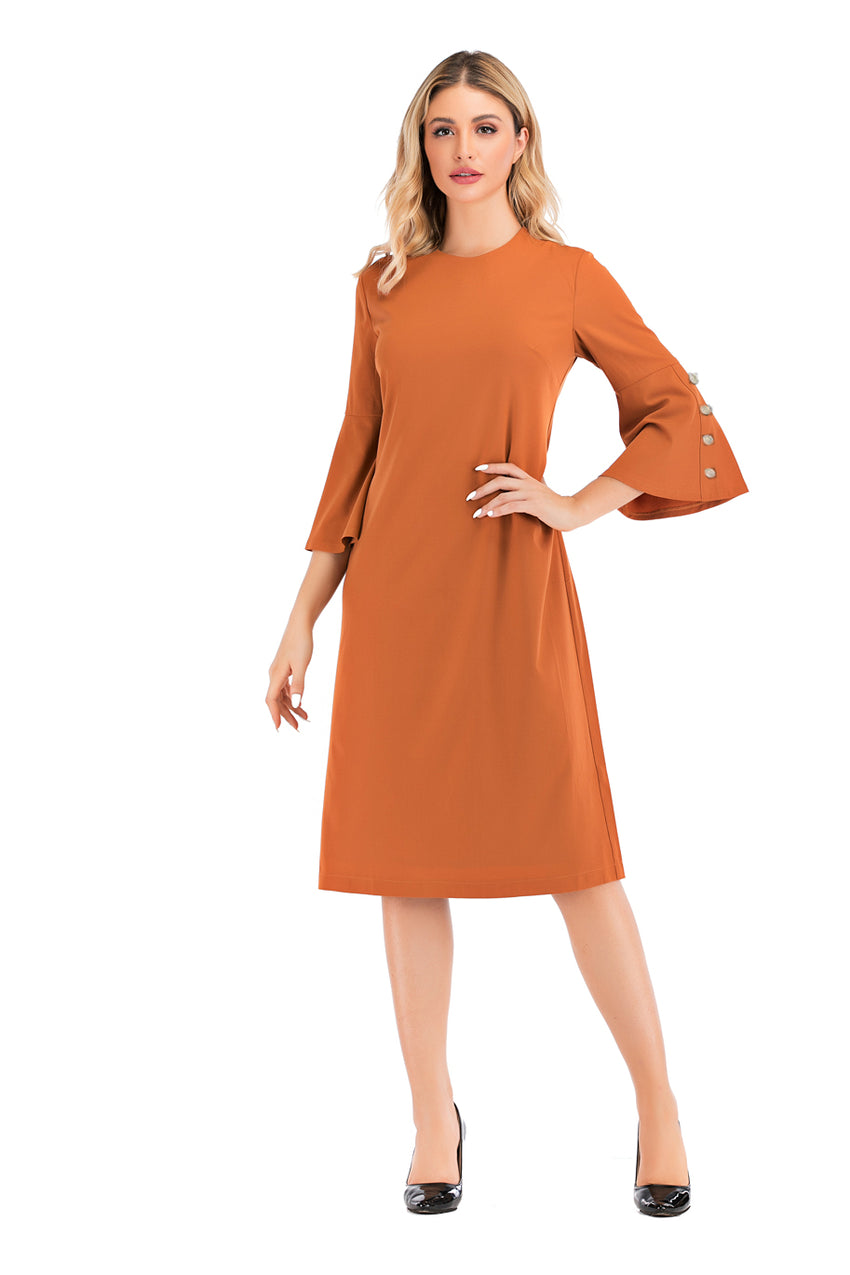 3/4 Flouncing Bell Sleeve Modest Dress 2889