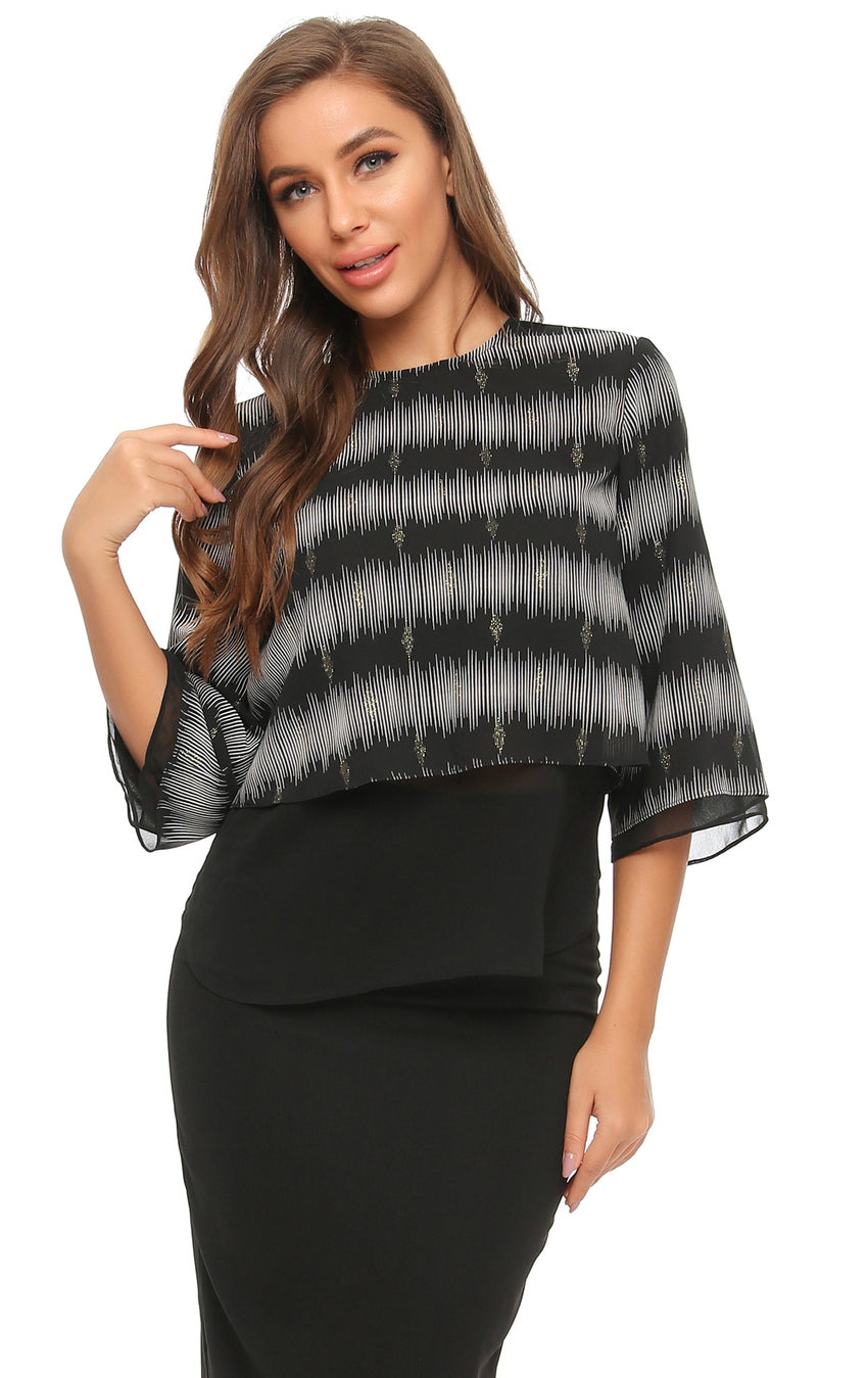 Layered look top with shimmering silver design2890 - MissFinchNYC