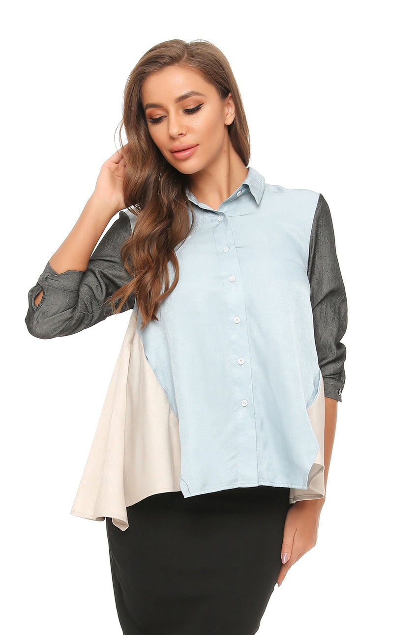 Satin look Color Block Flared Shirt w/ Pocket 2891