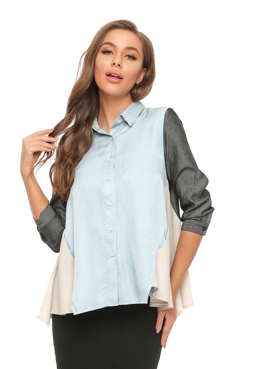 Satin look Color Block Flared Shirt w/ Pocket 2891 - MissFinchNYC