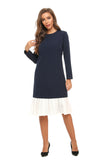 Navy Sheath dress w/ white pleated contrast 2892 - MissFinchNYC