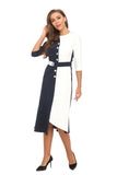 Elegant Color Block High & Low Midi Dress W/ Belt 2893