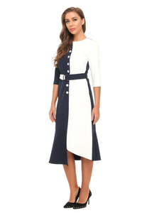 Elegant Color Block High & Low Midi Dress W/ Belt 2893 - MissFinchNYC