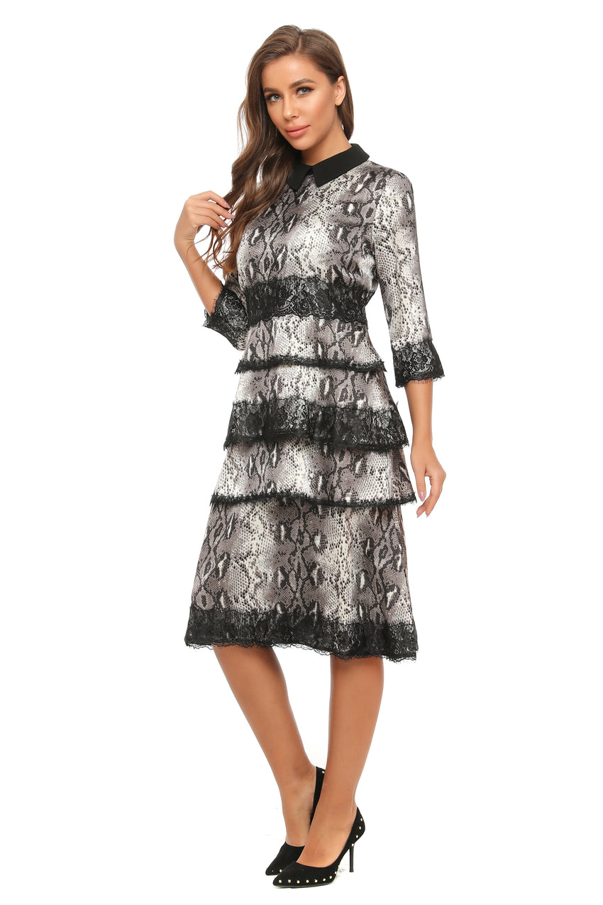 Lace Trim Tiered Animal Print Dress 2894 - MissFinchNYC
