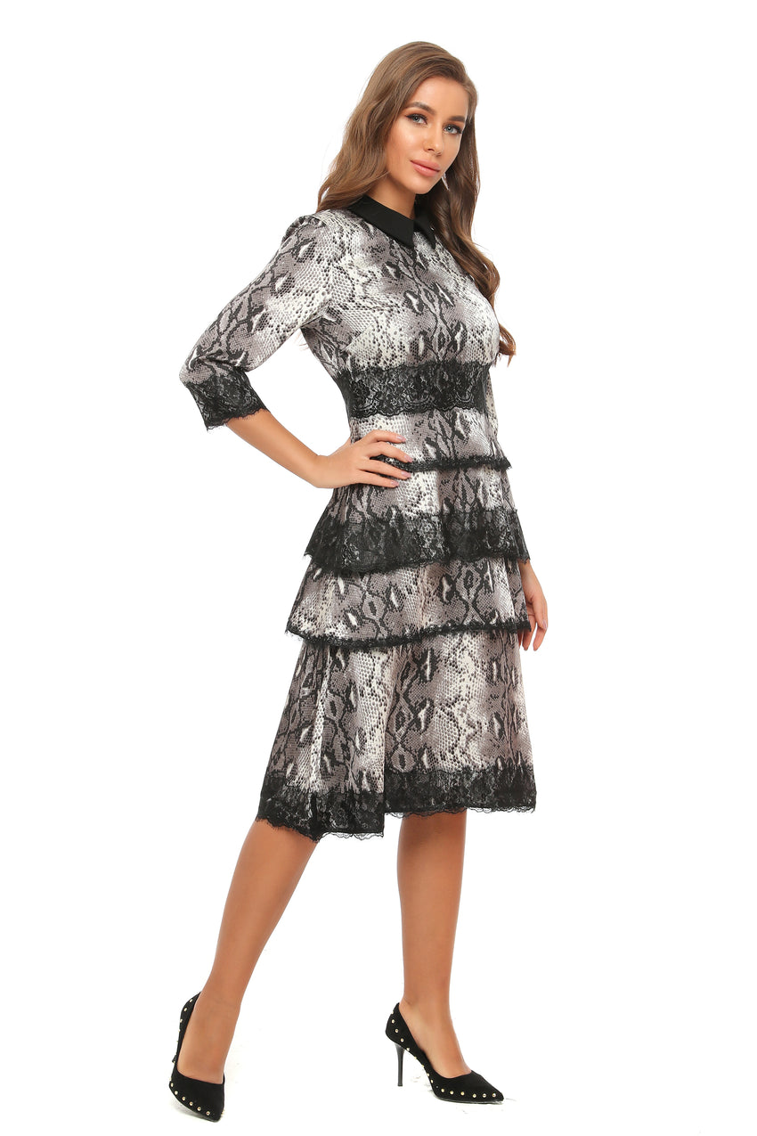 Lace Trim Tiered Animal Print Dress 2894