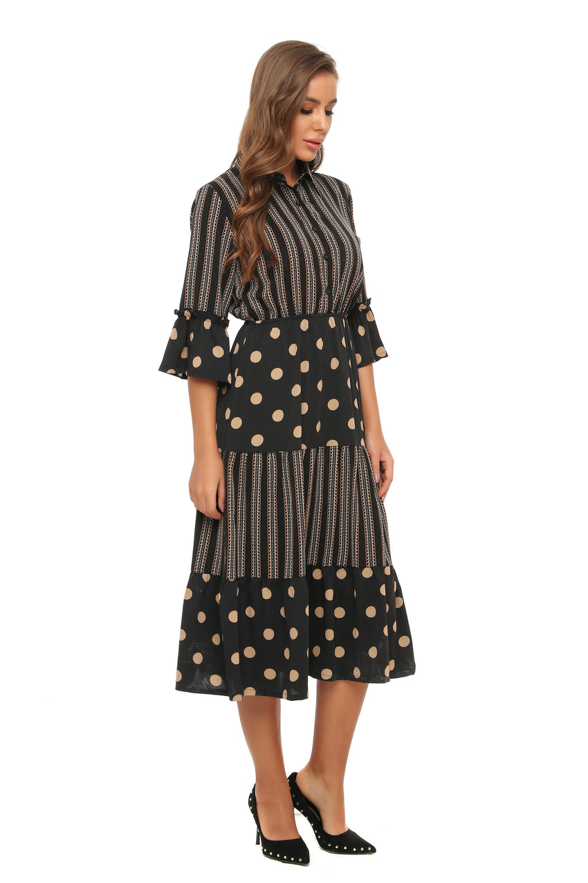 Classic Midi Mrs. Maisel Mixed print Dress 2895 - MissFinchNYC