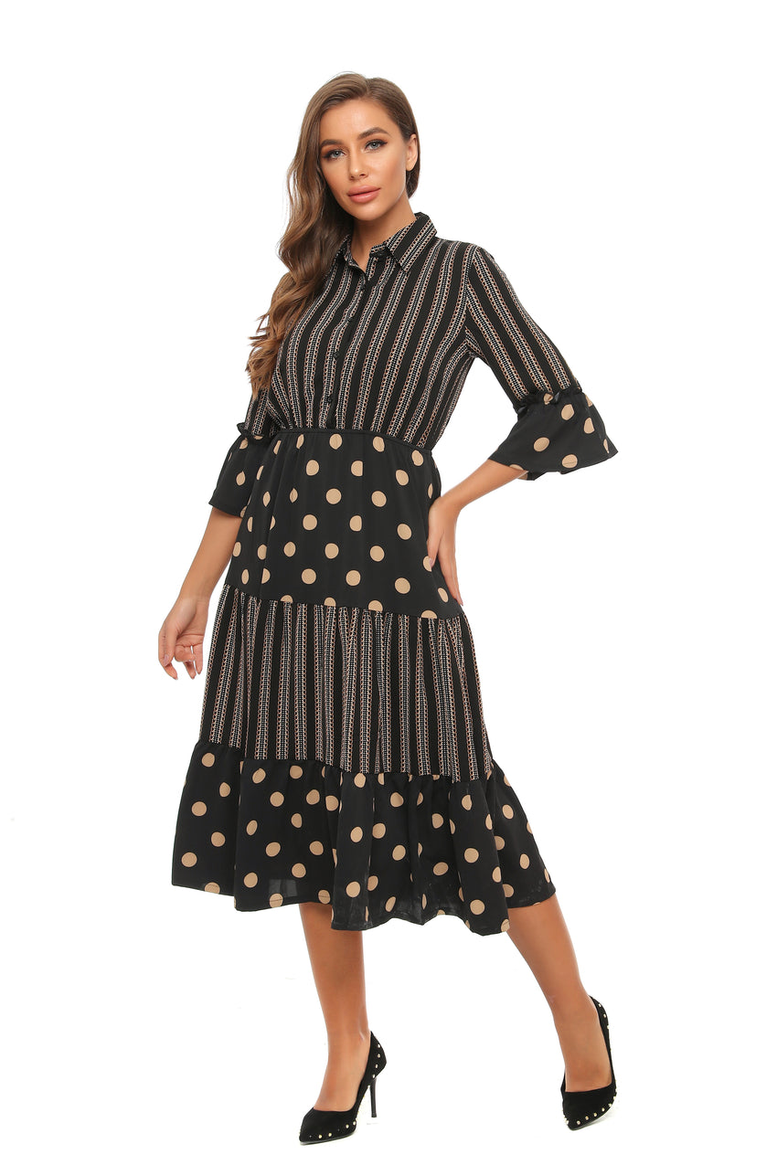Classic Midi Mrs. Maisel Mixed print Dress 2895