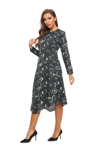 High & Low Long Sleeve A Line Print Dress 2896