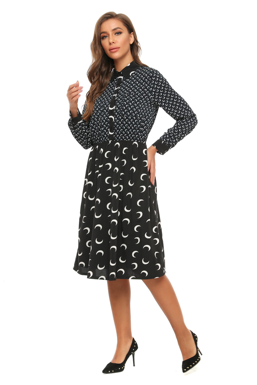 Classic Mixed print A line Dress W/ Collar 2897 - MissFinchNYC