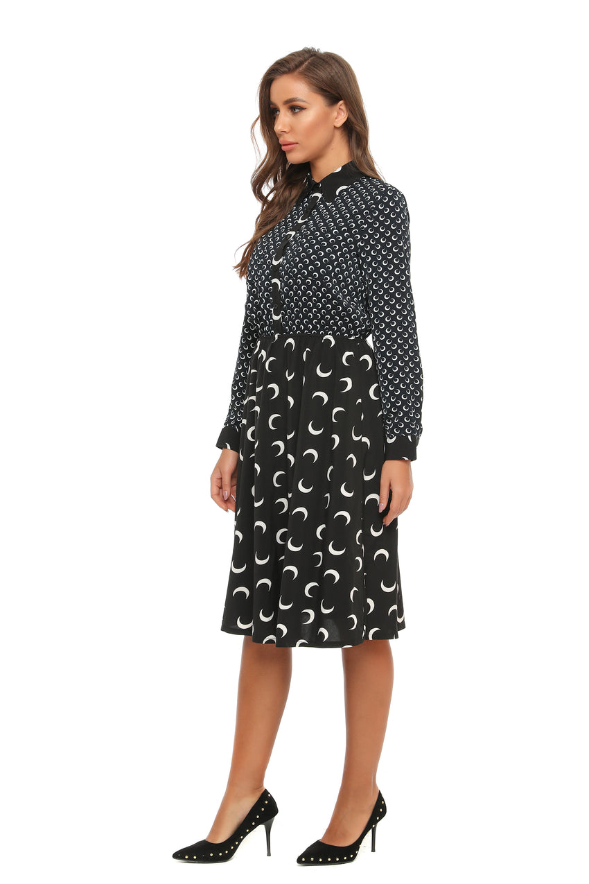 Classic Mixed print A line Dress W/ Collar 2897