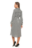 Black & White Stripe Midi Shirt Dress With Belt & Belted Cuffs 2898 - MissFinchNYC