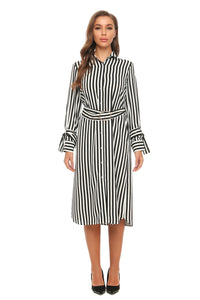 Black & White Stripe Midi Shirt Dress With Belt & Belted Cuffs 2898