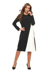 Modest Black & White Sheath Dress 2899