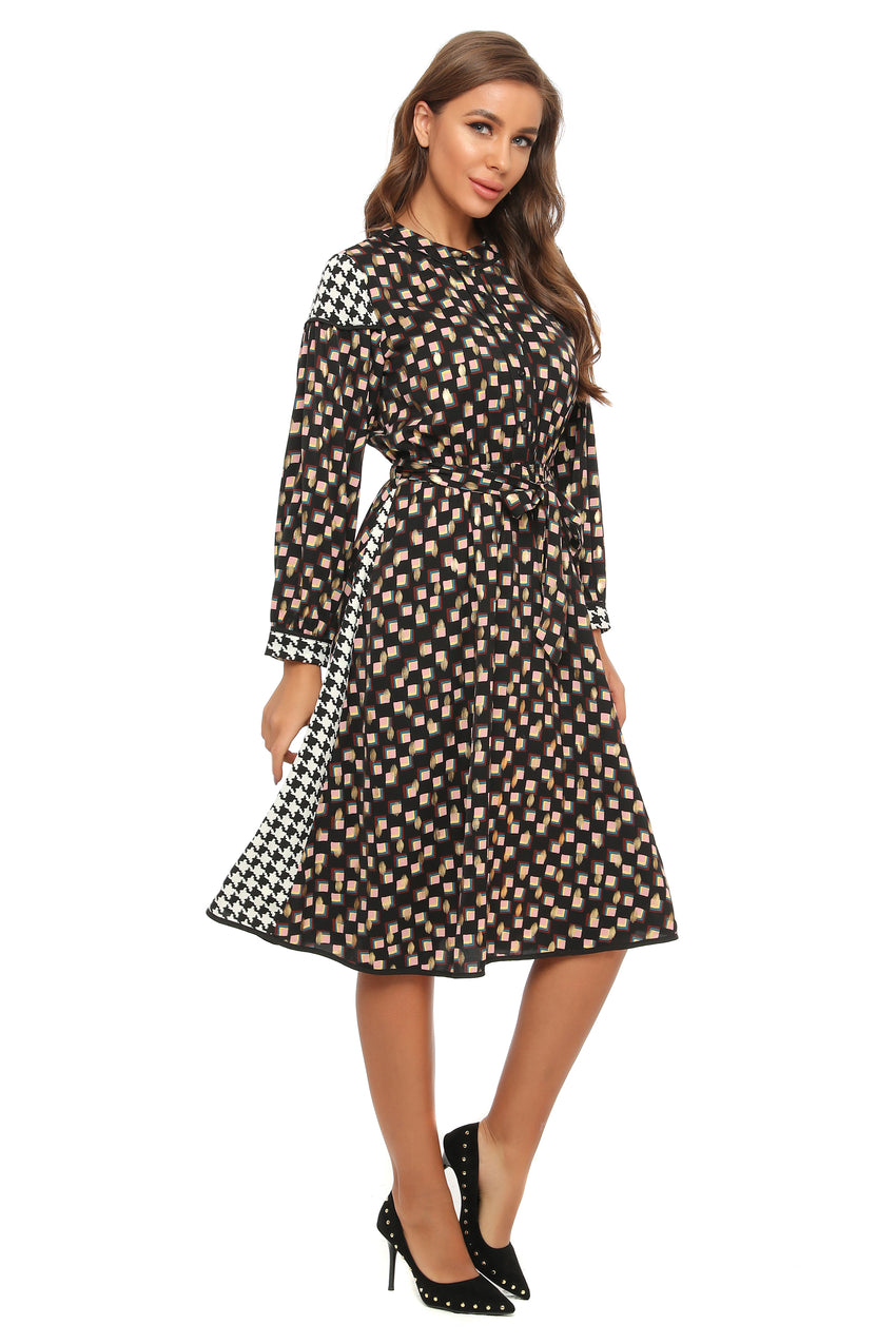 Mandarin Collar Mixed Print Dress with Self Belt 2900 - MissFinchNYC