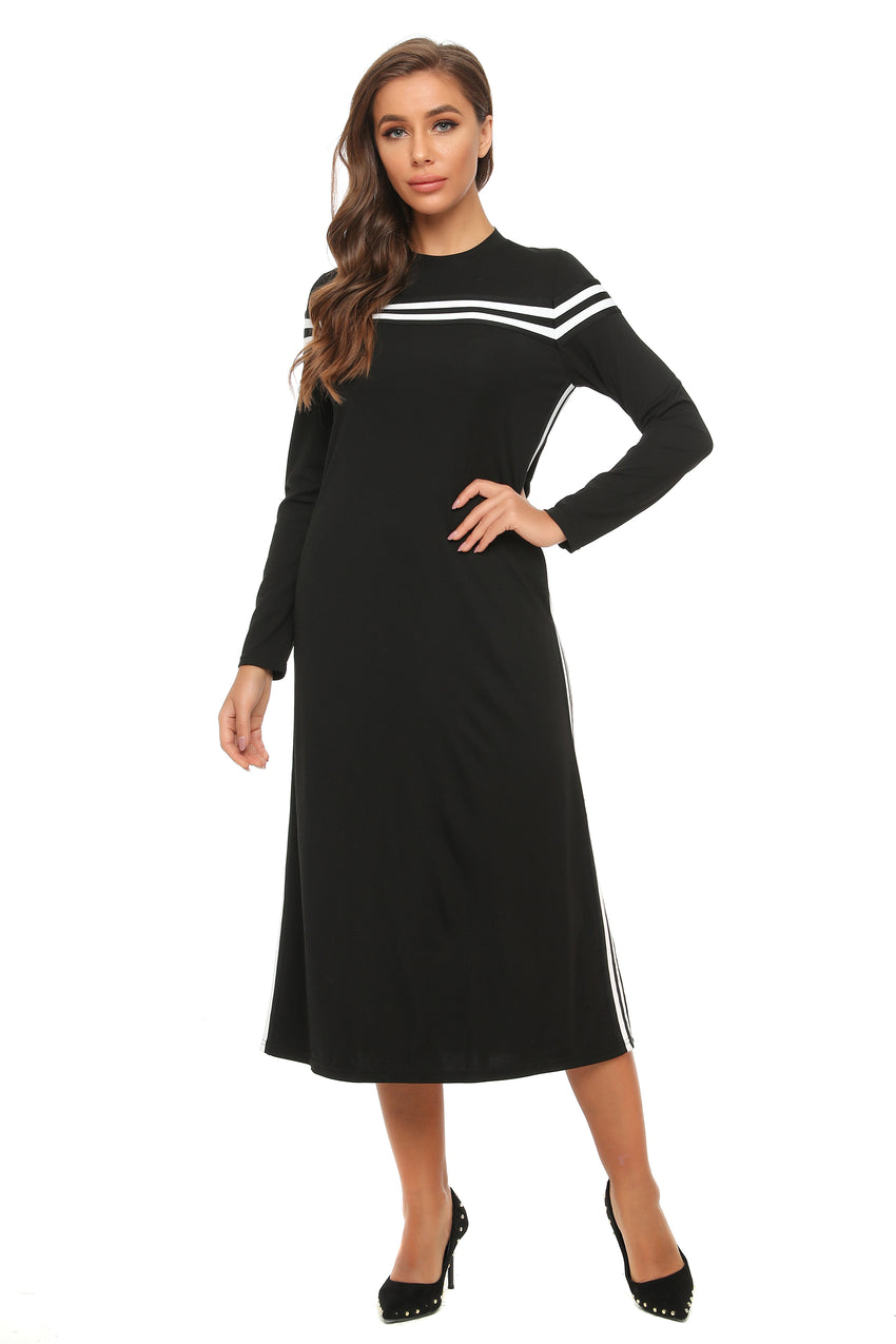 Casual Sheath Midi Dress W/ Bk & Wht Contrast Trim & Pockets 2901 - MissFinchNYC