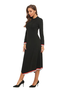 High & Low Modest Casual Dress w/ Hem & Wrist Trim 2902
