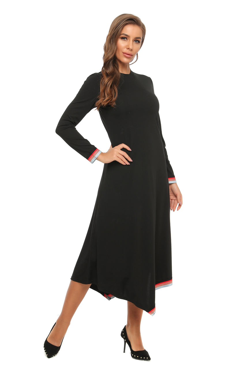 High & Low Modest Casual Dress w/ Hem & Wrist Trim 2902 - MissFinchNYC