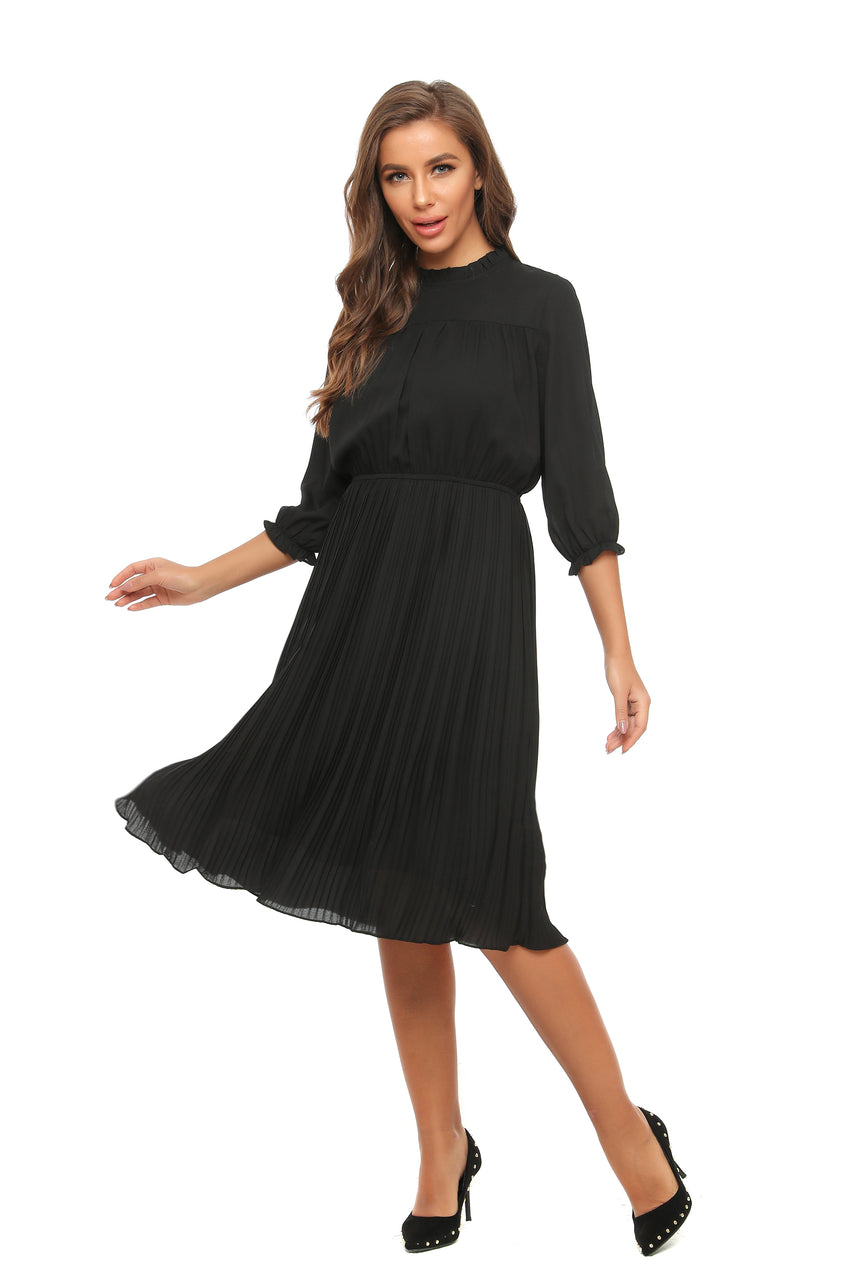 Long Sleeve Classic Chiffon Dress w/ Ruffled & Pleats Details 2903