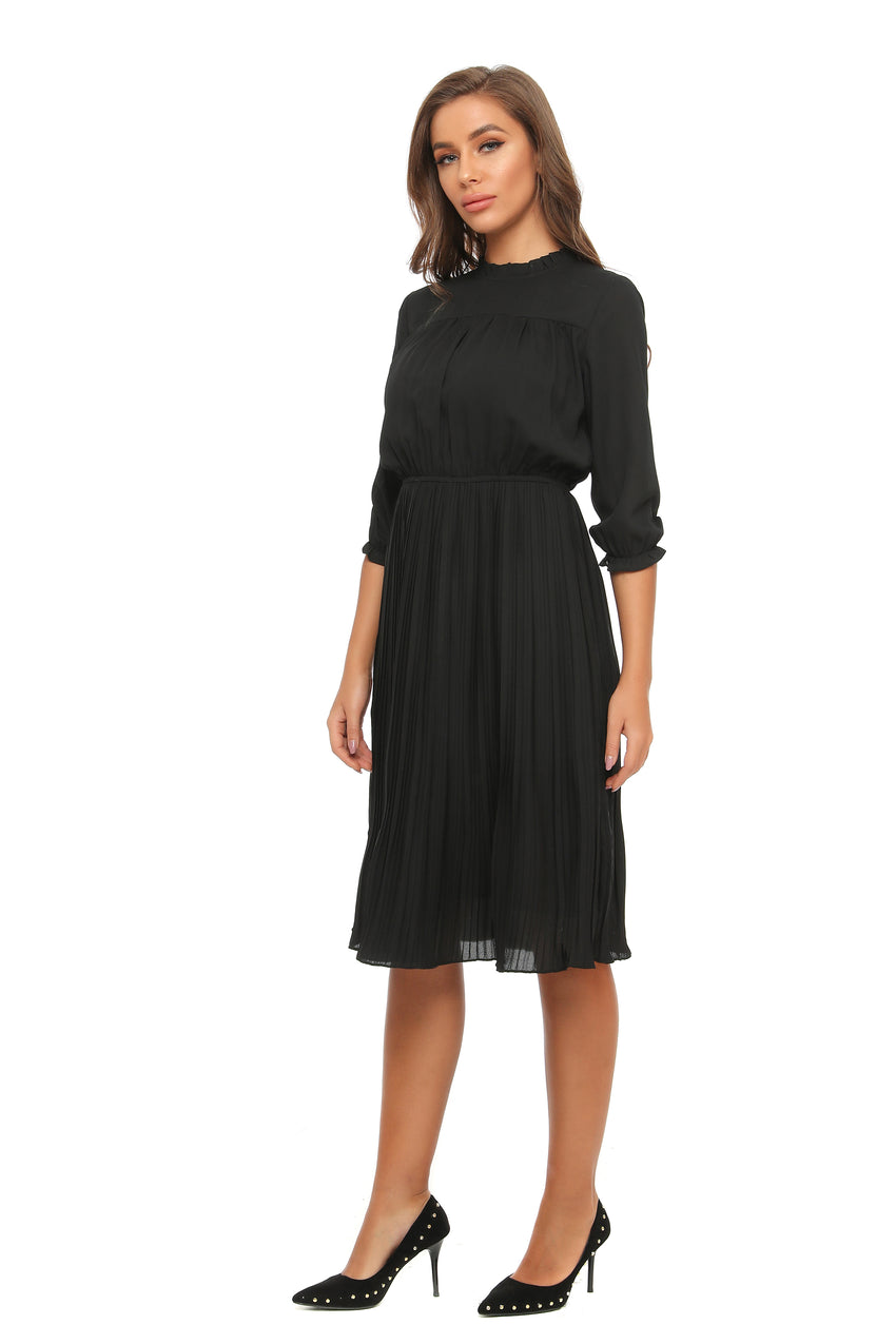 Long Sleeve Classic Chiffon Dress w/ Ruffled & Pleats Details 2903 - MissFinchNYC