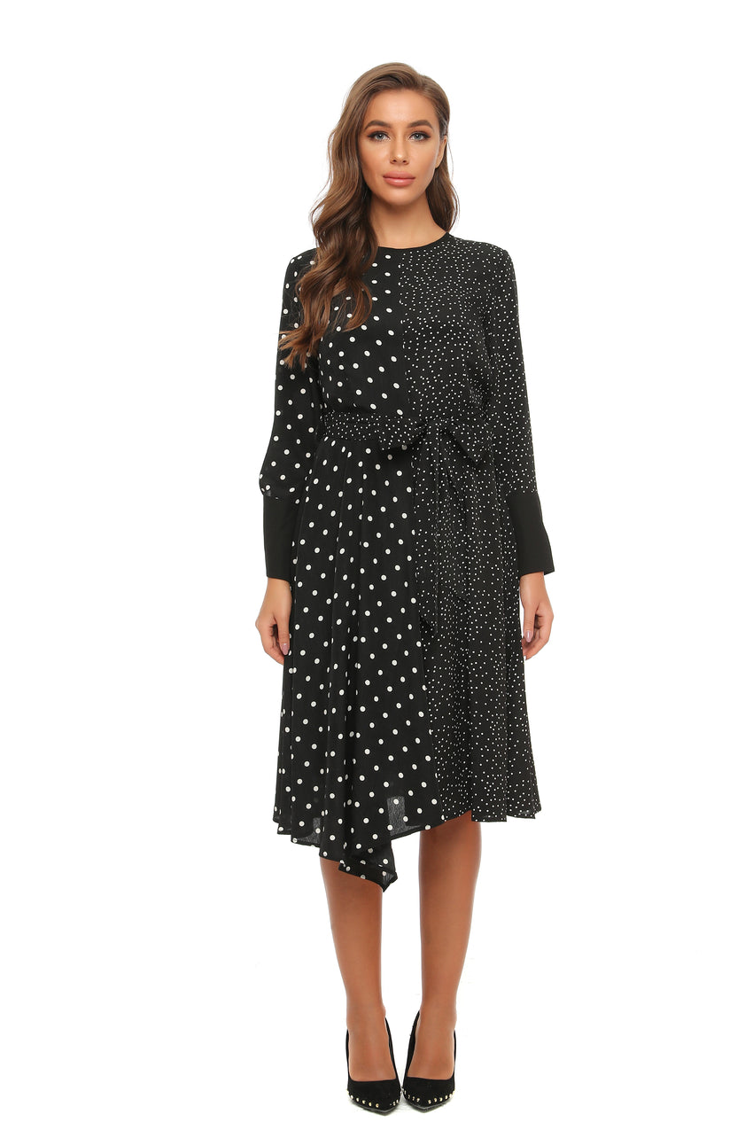 High & Low mixed polkadot dress 2904 - MissFinchNYC