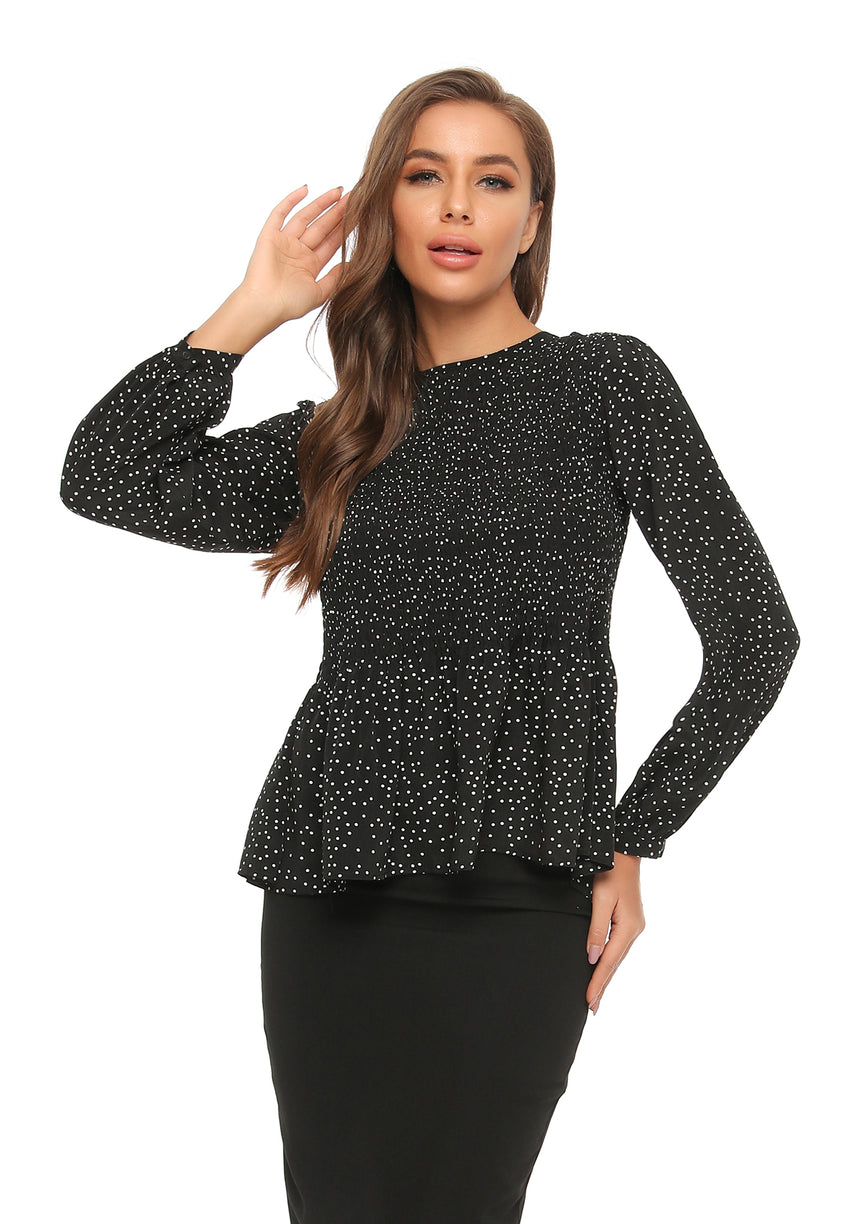 Ruched front Long Sleeve Micro Polka Dot Blouse 2905
