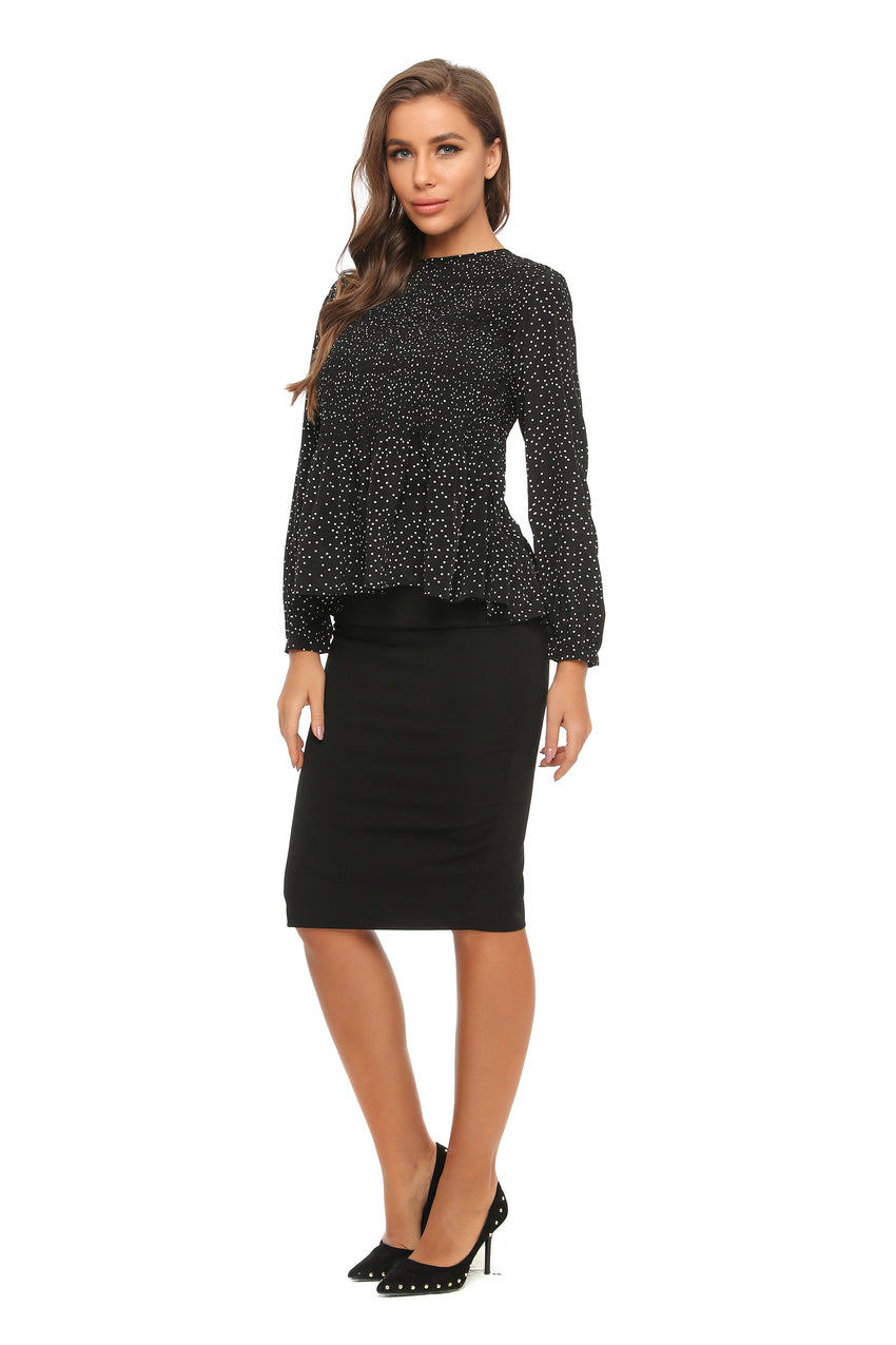 Ruched front Long Sleeve Micro Polka Dot Blouse 2905 - MissFinchNYC