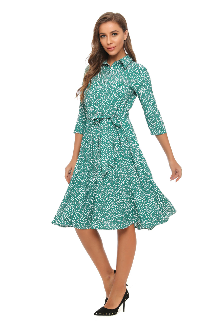3/4 Sleeves Mint/White Print Shirt Dress w/ Self belt 2906 - MissFinchNYC