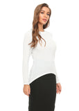 High & Low Shimmering Long Sleeve T. Shirt Top 2907