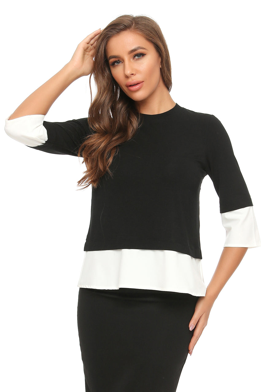 Elegant Faux 2 pc. 3/4 Sleeve T. Shirt Top 2908 - MissFinchNYC