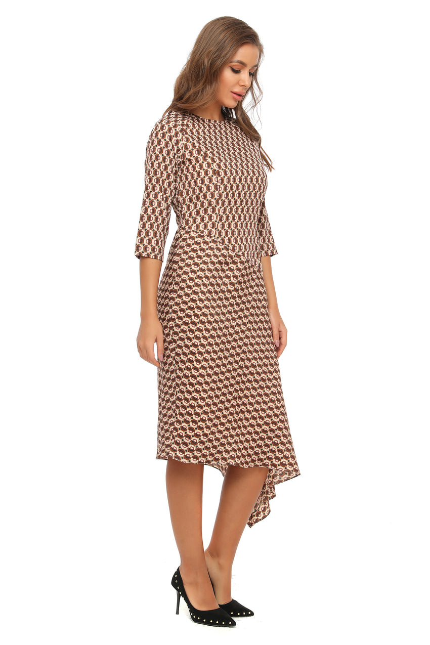 3/4 Sleeves High & Low Geometric Print Modest Dress 2909 - MissFinchNYC