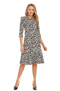 3/4 Sleeves Modest Zebra Print Dress W/ Ruffle details 2911 - MissFinchNYC