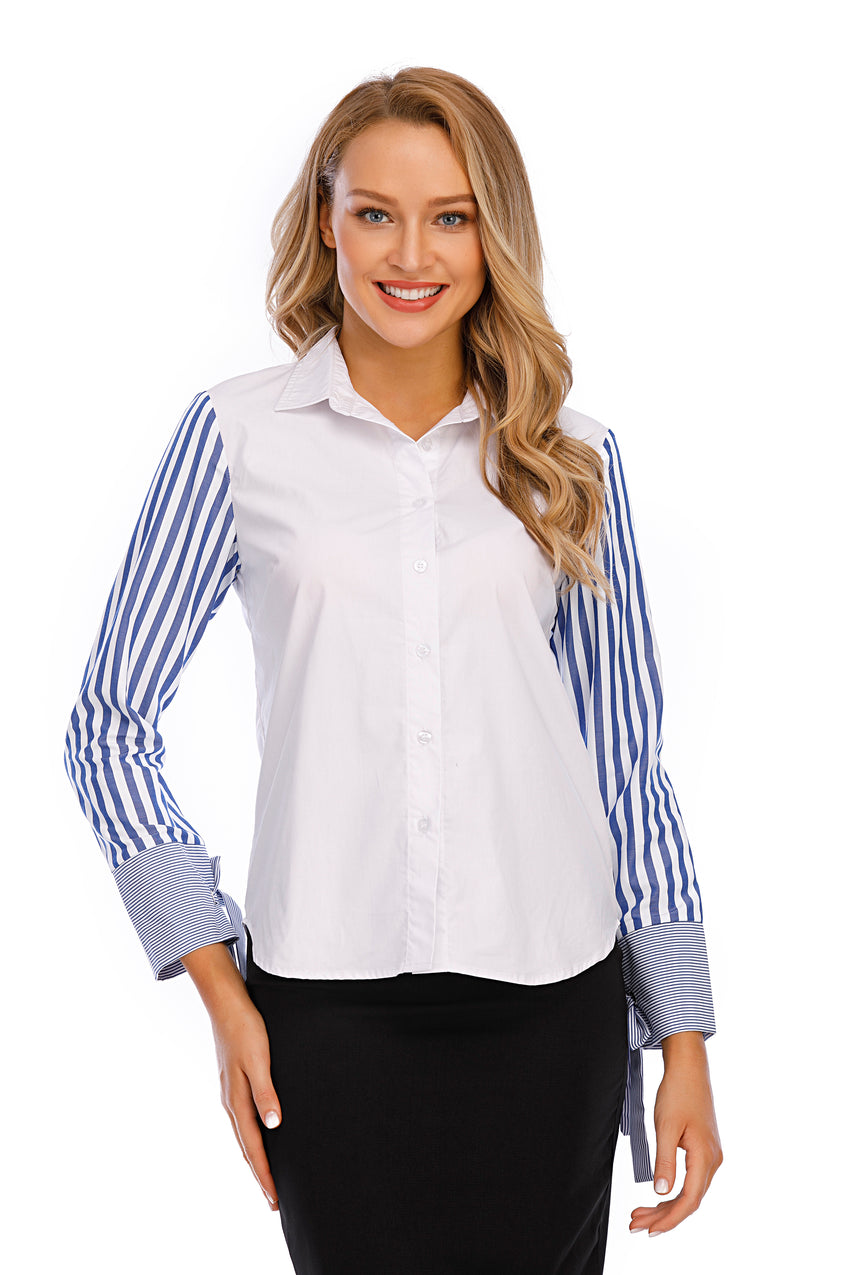 White Cotton Shirt W/ Striped Long Sleeve Shirt 2912 - MissFinchNYC