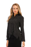 Long Sleeves Narrow Stripe Wrap Look Shirt Blouse 2915 - MissFinchNYC