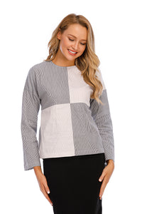 Mixed Stripe Long Sleeve Self Belt Cotton Top 2917 - MissFinchNYC