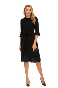 3/4 Sleeves Elegant Chiffon Dress W/ Micro Pleat front & Sleeve cuff 2918 - MissFinchNYC