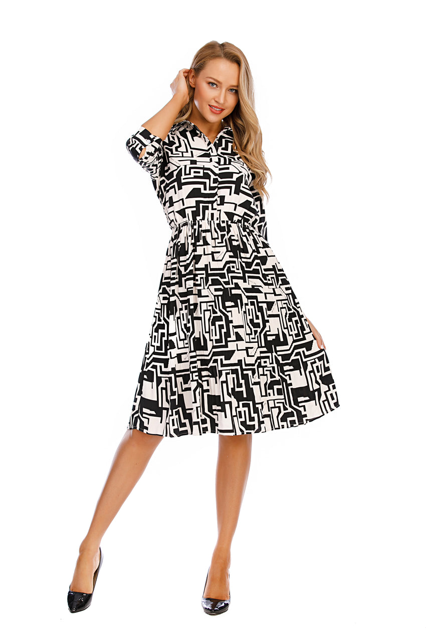 3/4 Sleeves Geometric Print Shirt Dress w/ Micro pleated skirt 2919 - MissFinchNYC