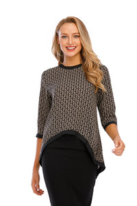3/4 Sleeves High & Low Print Top W/Sold Trim 2920 - MissFinchNYC
