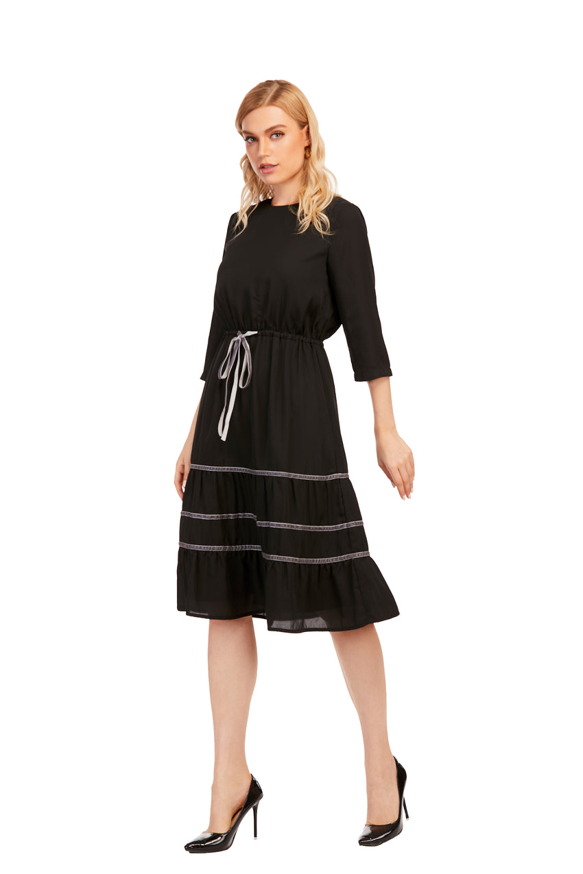 3/4 sleeve Tiered Dress with Detailed trimming 2922 - MissFinchNYC